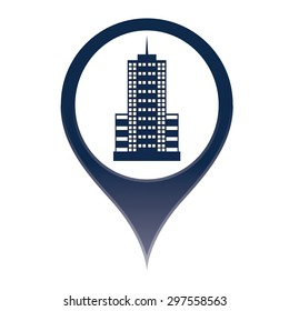 Map marker pin building style icon on isolated white background vector