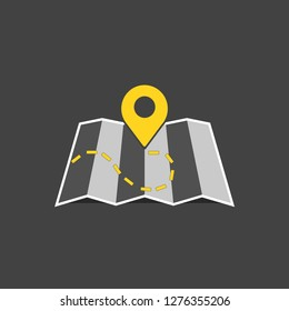 Map marker pointer with road on black background map vector icon design. Map pointer icon. GPS location symbol.