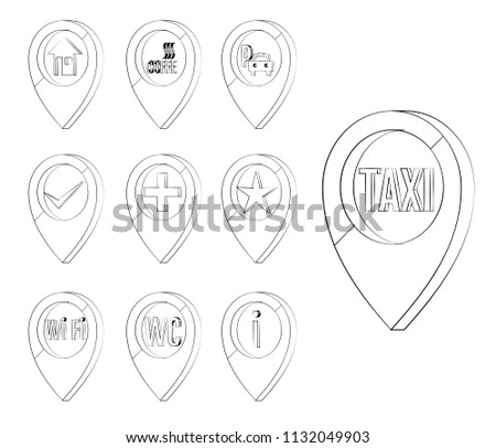 Map Marker Set Markers Identify Location Stock Vector Royalty Free