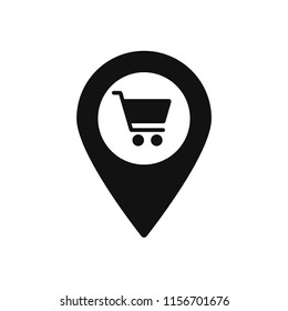 Map marker with Shopping cart icon, map pin, GPS location symbol, vector illustration