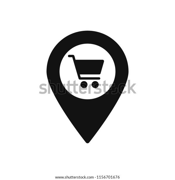 Map Marker Shopping Cart Icon Map Stock Vector (Royalty Free ... on