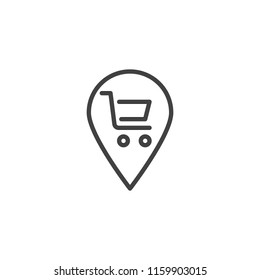Map marker with Shopping cart outline icon. linear style sign for mobile concept and web design. Shop location pin simple line vector icon. Symbol, logo illustration. Pixel perfect vector graphics