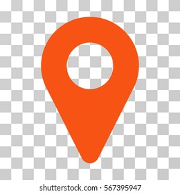 Map Marker vector pictograph. Illustration style is flat iconic orange symbol on a transparent background.