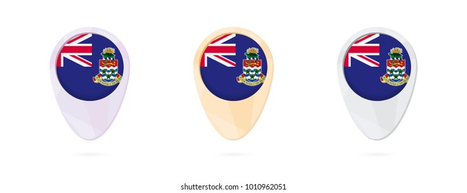 Map markers with flag of Cayman Islands, 3 color versions.