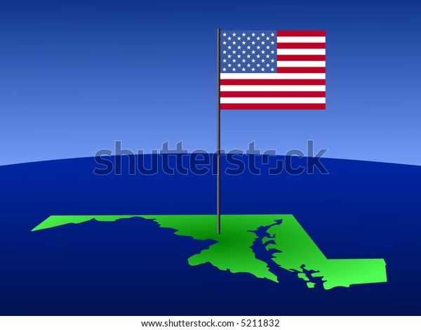 map of Maryland with American Flag on pole