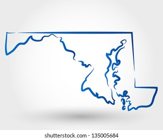 map of maryland. map concept