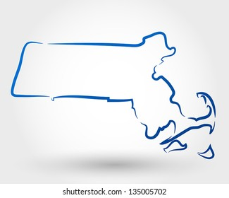 map of massachusetts. map concept