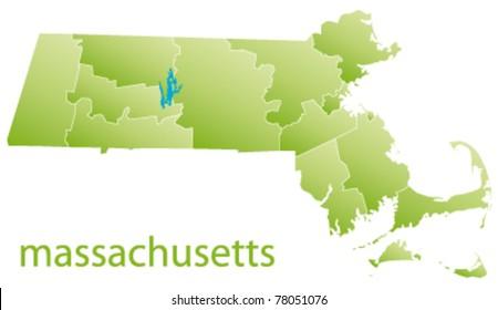 map of massachusetts state, usa