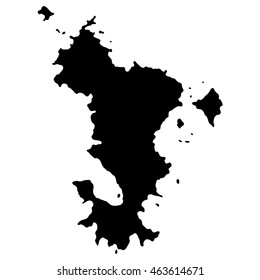 Map of Mayotte on white background. Overseas region of France