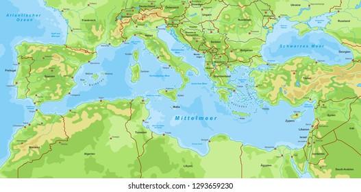 Map of Mediterranean Sea (with german inscription)