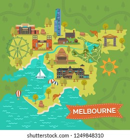 Map of melbourne with Shrine of Remembrance, Captain Cooks Cottage, Eureka tower, Royal zoo gardens, star or ferris wheel, Port Phillip Bay, Dandenong park, Rippon Lea Estate. City tourism, landmark