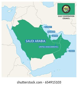 Map of the Member States of the Gulf Cooperation Council with flag