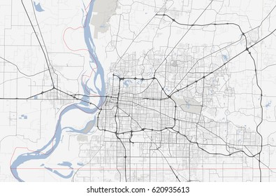 Map Memphis city. Tennessee Road