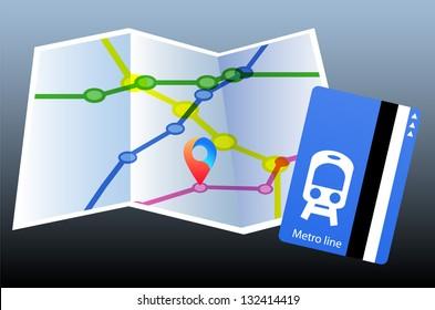 Map. Metro line. Pointer
