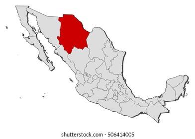 Map - Mexico, Chihuahua