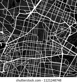 Map of Mexico City, Mexico. Dark background version for infographic and marketing projects. This map of Mexico City contains typical landmarks with streets, waterways and railways