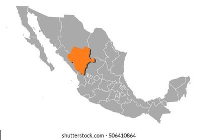 Map - Mexico, Durango