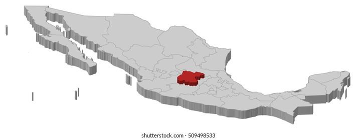 Map - Mexico, Guanajuato - 3D-Illustration