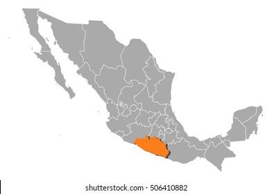 Map - Mexico, Guerrero