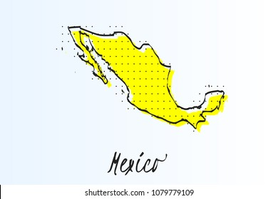 Map of Mexico, halftone abstract background. The black dots on a yellow background. drawn border line. vector illustration