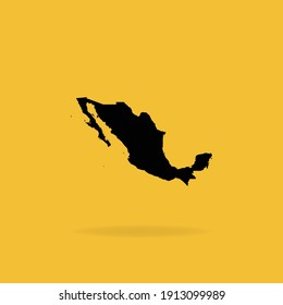 Map of Mexico isolated on dark Yellow background, Vector Illustration EPS 10