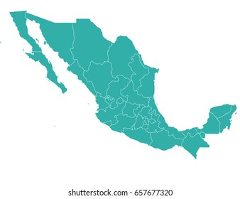 map of mexico isolated on white background