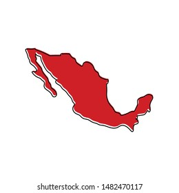 Map of Mexico, mexican country borders vector illustation