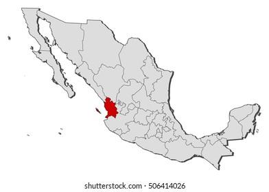 Map - Mexico, Nayarit