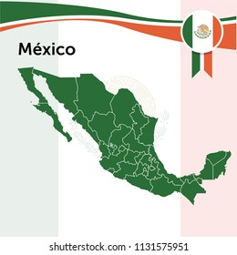 Map of Mexico with political division.