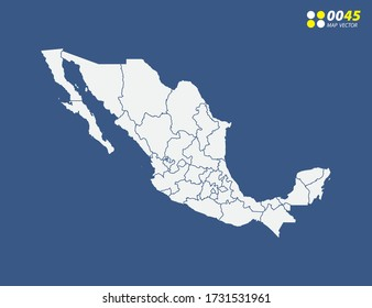 Map of Mexico vector on blue