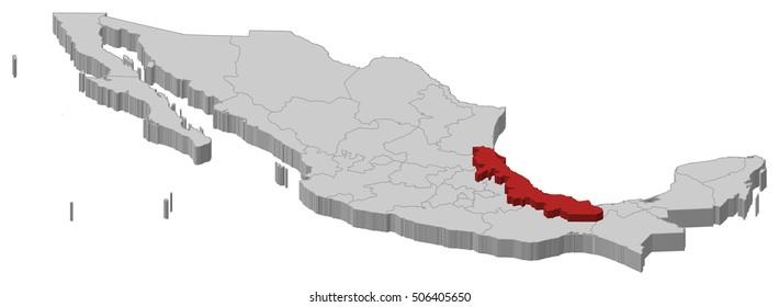Map - Mexico, Veracruz - 3D-Illustration