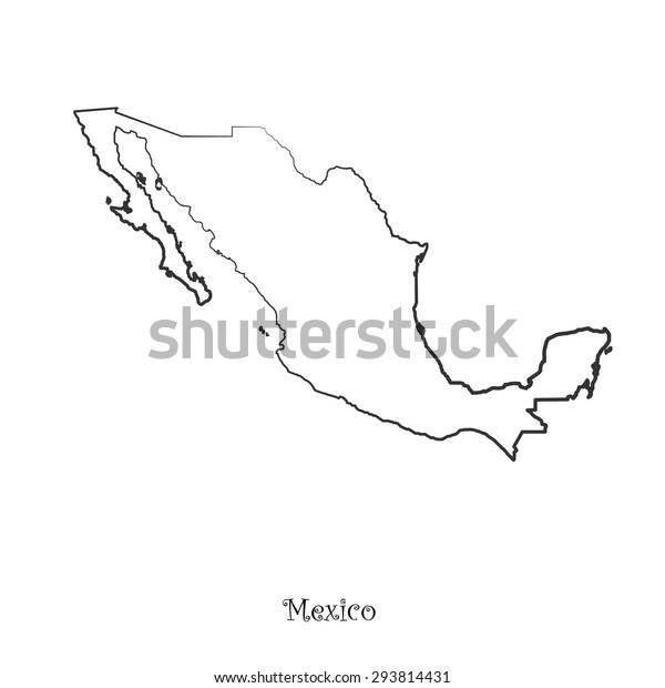 Mexiko Karte Umriss.Map Mexico Your Design Concept Illustration Stock