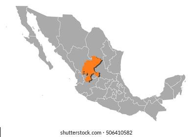 Map - Mexico, Zacatecas