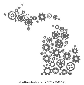 Map of Michigan State formed with gray cog symbols. Vector abstract collage of map of Michigan State with industry symbols. Engineering flat design for industry illustrations.