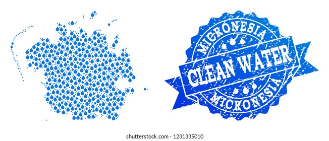 Map of Micronesia island vector mosaic and clean water grunge stamp. Map of Micronesia island formed with blue liquid tears. Seal with scratched rubber texture for clear drinking water.