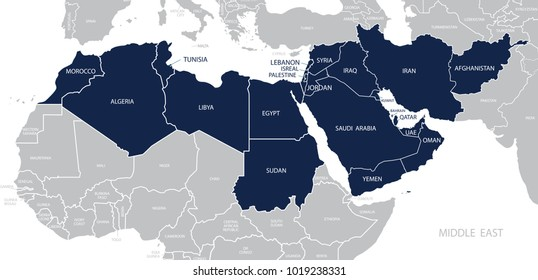 Map of Middle East.