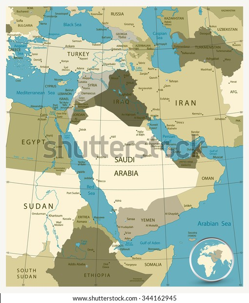 Map Middle East Asia Military Colors Stock Vector (Royalty ...