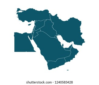 Map of Middle East - High Detailed on white background. Abstract design vector illustration eps 10.