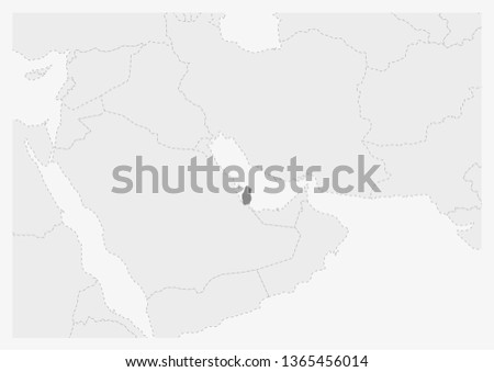 Map Middle East Highlighted Qatar Map Stock Vector Royalty Free
