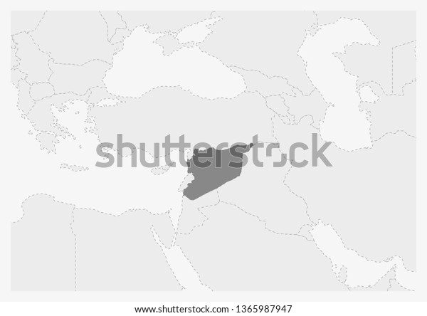 Map Middle East Highlighted Syria Map Stock Vector (Royalty ...