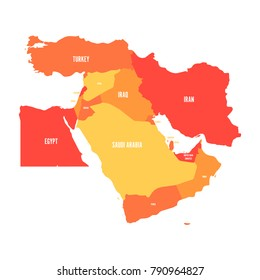 Map of Middle East, or Near East, in shades of orange. Simple flat vector ilustration.