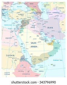 Map of Middle East and Southwest Asia.Highly detailed map vector illustration.