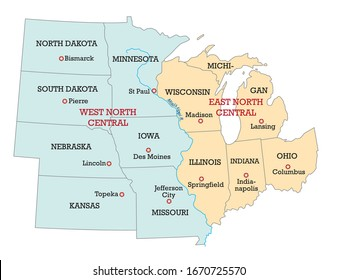 Map of the Midwest United States of America