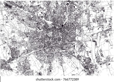 Map of Milan, satellite view, city, Lombardy, Italy