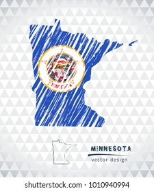 Map of Minnesota with hand drawn sketch pen map inside. Vector illustration