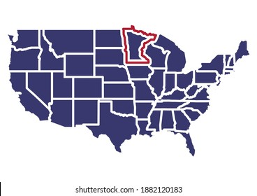 Map of  Minnesota. The map shows the location of Minnesota in the USA. The map is colored with the colors of the USA flag. This file is appropriate for digital editing and prints of all sizes.