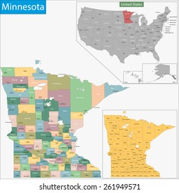 Map of Minnesota state designed in illustration with the counties and the county seats