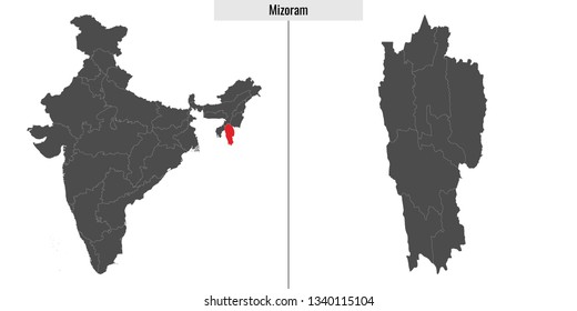 map of Mizoram state of India and location on Indian map