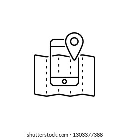 Map, mobile, location icon. Element of Web Navigation icon for mobile concept and web apps. Detailed Map, mobile, location icon can be used for web and mobile