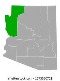 Map of Mohave in Arizona on white